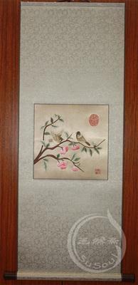 苏绣卷轴 宋人花鸟 樱桃