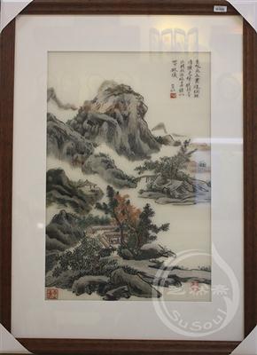 苏绣山水 秋山滨湖图