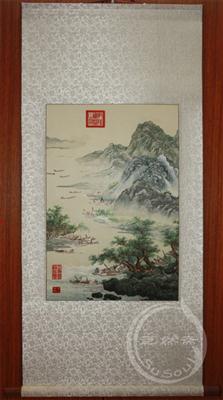 江山渔乐图 苏绣山水画