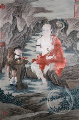 罗汉图 金廷标原作 顾绣佛像