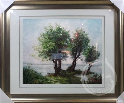 湖畔的树 苏绣风景油画精品