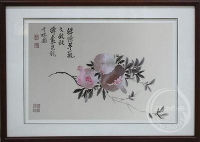 石榴 蒋廷锡小品 顾绣花鸟