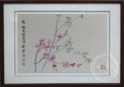 桃花柳叶 蒋廷锡册页 顾绣花卉