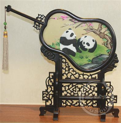 熊猫伉俪 双面绣摆件
