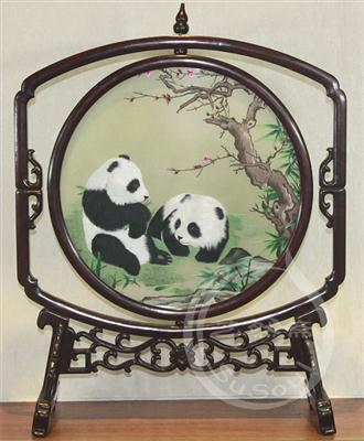 熊猫伉俪 双面绣