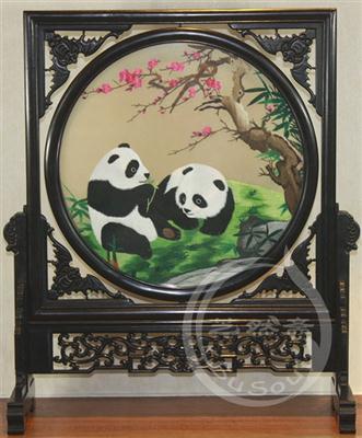 熊猫桃花 双面绣摆件