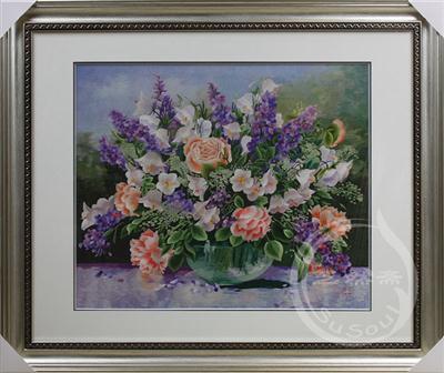 紫色花篮 苏绣静物