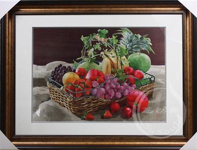 水果篮 苏绣静物画