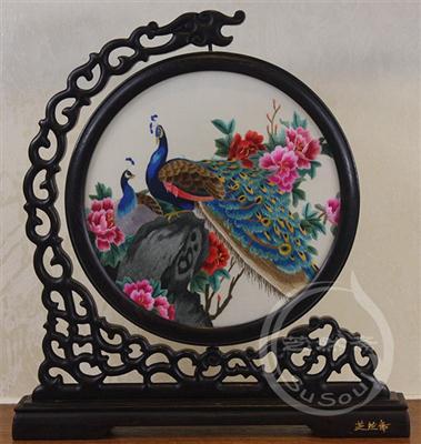 孔雀牡丹 鸡翅木龙架双面绣