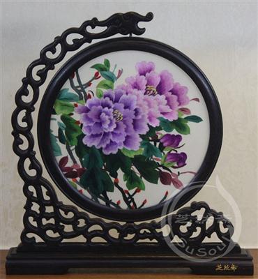 紫牡丹 鸡翅木龙架双面绣