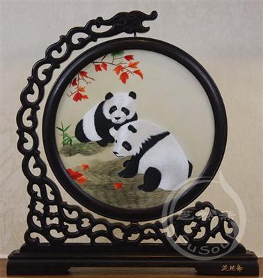 熊猫秋叶 鸡翅木龙架双面绣动物