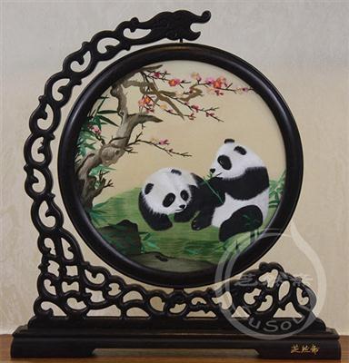 熊猫桃花 苏绣摆件