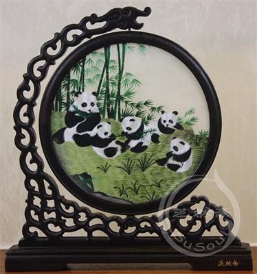 熊猫家族 鸡翅木龙架双面绣动物
