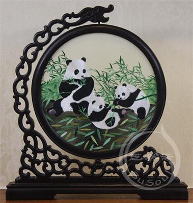 三生万物 鸡翅木龙架双面绣熊猫