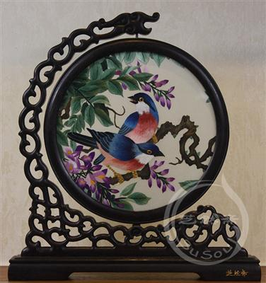 紫藤双雀 鸡翅木龙架花鸟双面绣