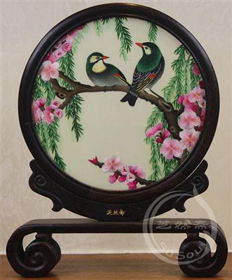 桃花黄鹂 鸡翅木书案架 花鸟双面绣