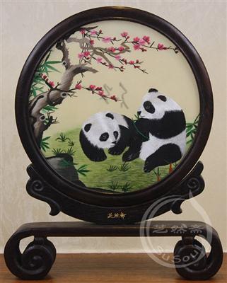 熊猫伉俪 鸡翅木书案架双面绣