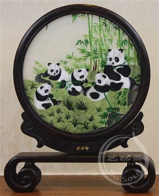 熊猫家族 鸡翅木书案架双面绣动物