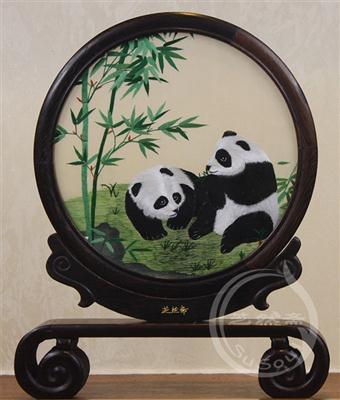 熊猫青竹 鸡翅木书案架双面