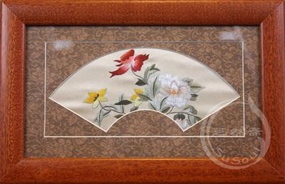 小野花 扇形花鸟小品摆件