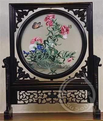康乃馨 紫光檀蝠架双面绣