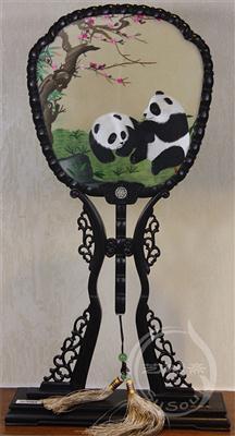 熊猫伉俪 紫光檀宫扇 双面绣动物
