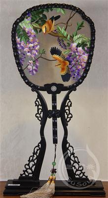 紫藤黄鹂 紫光檀宫扇 双面绣花鸟