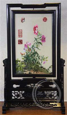 康乃馨 紫光檀明式架 双面绣花鸟