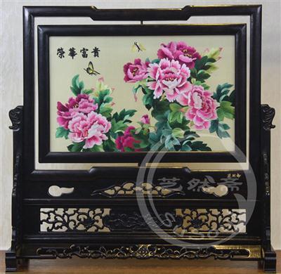荣华富贵 紫光檀明式架 双面绣牡丹