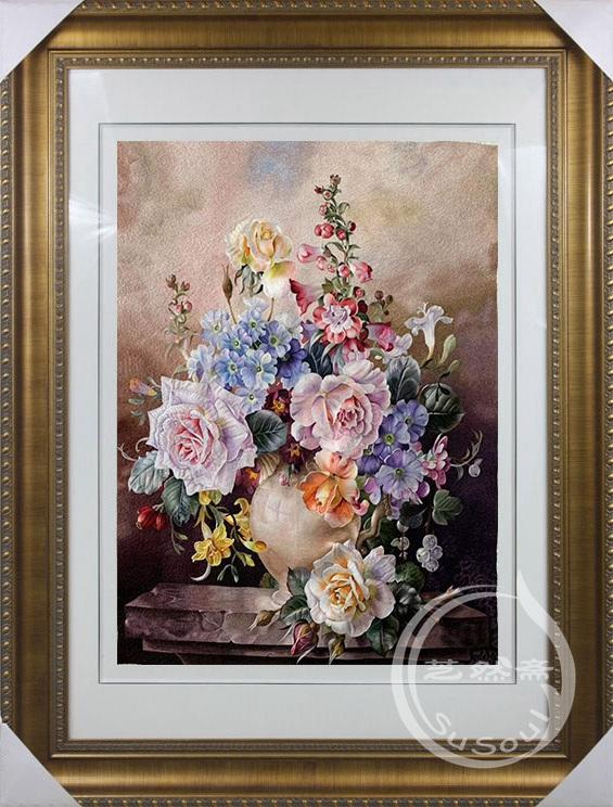 苏绣静物花瓶 收藏品